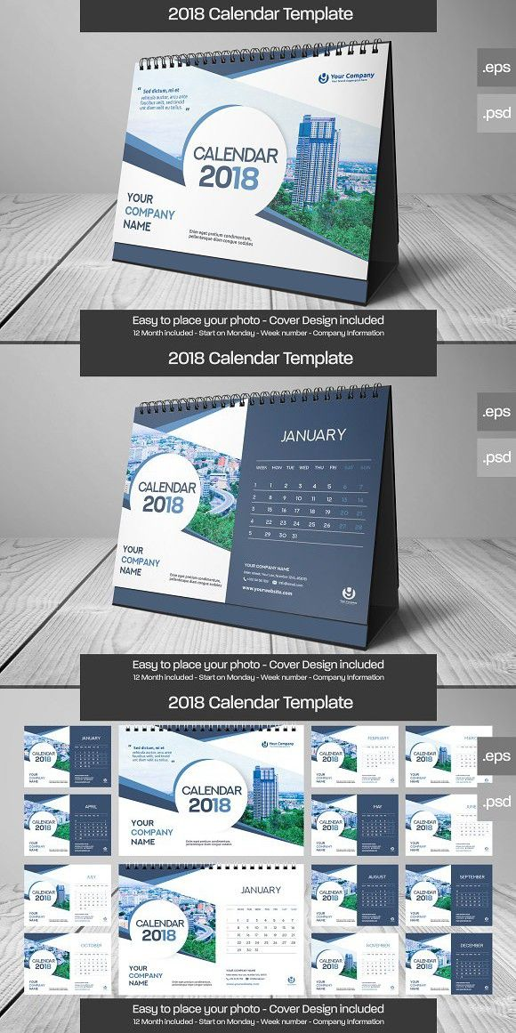 2018 Deskcalendar Template Design 01 Stationery Templates