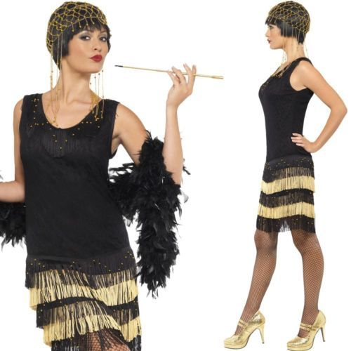 Charleston Kleid Schwarz Gold Mafia Flapper 1920 20er Jahre
