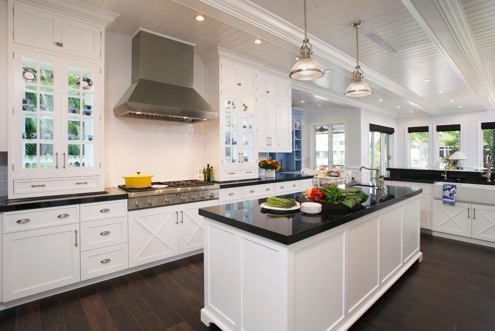 Forevermark Ice White Shaker Cabinets Kitchen Transitional With Paneling Ceiling Stainless Steel Wall Mount Range Hoods