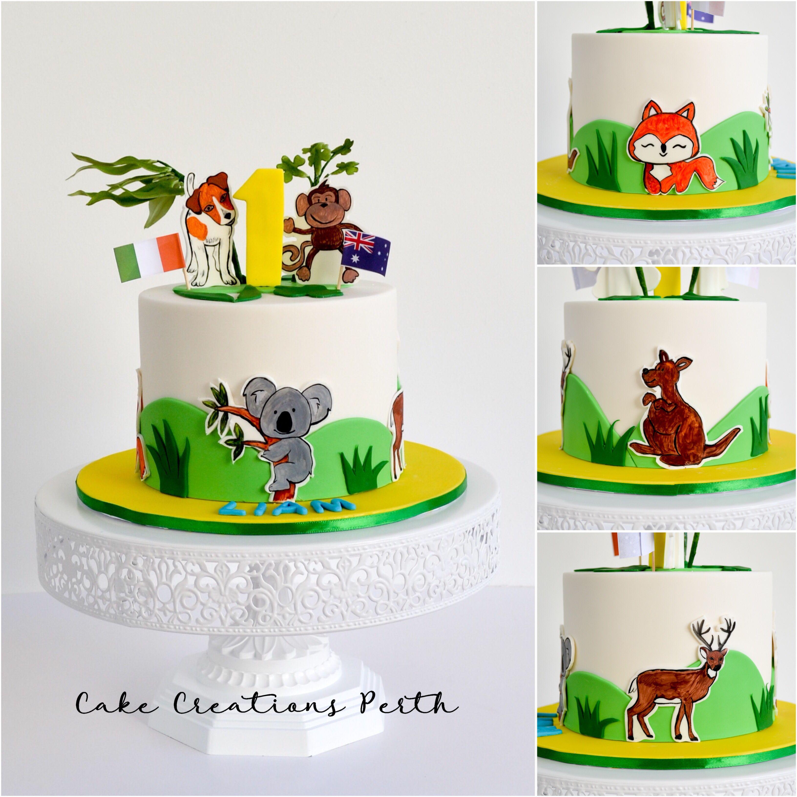 Australia & Ireland animal themed 1st birthday cake with hand ...