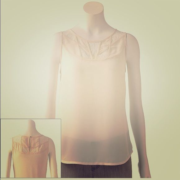 Lauren Conrad off while top Beautiful top with gorgeous lace. Wore it once LC Lauren Conrad Tops