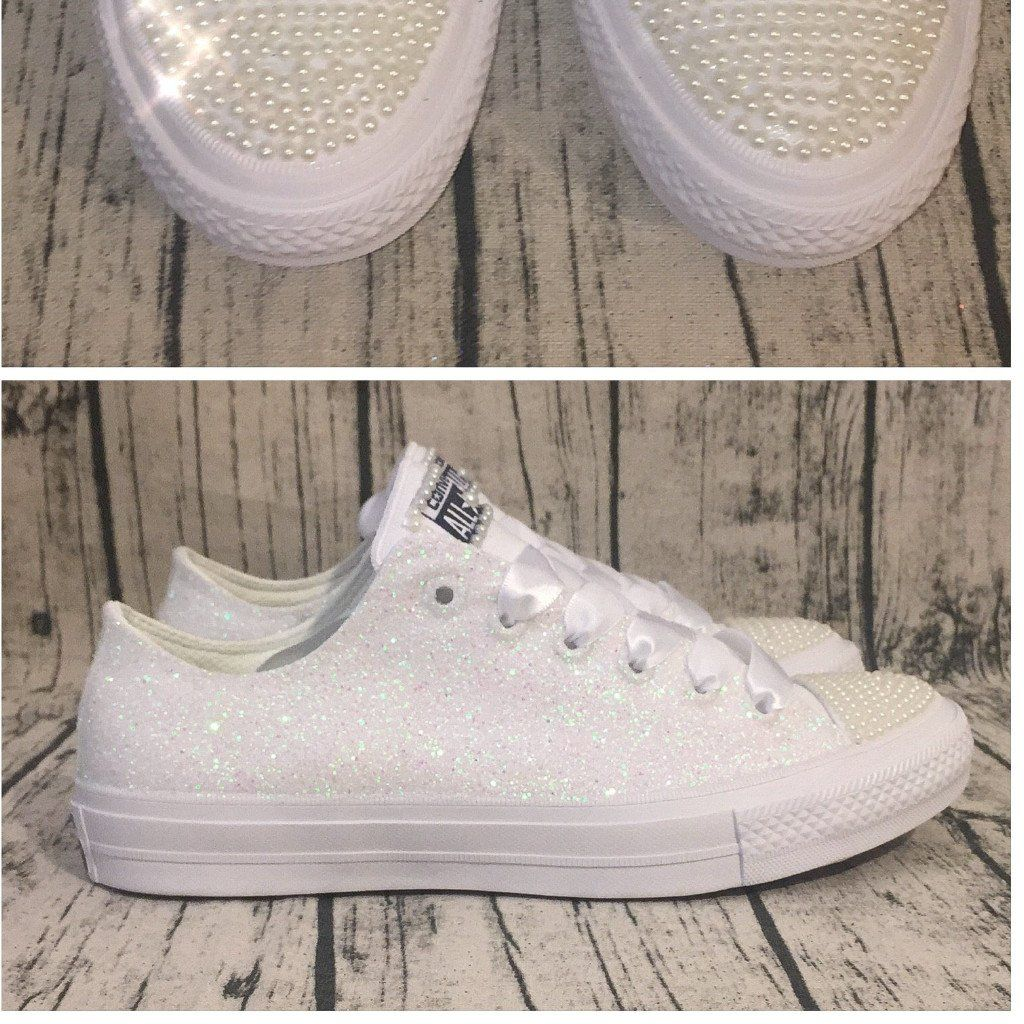 Women's Sparkly White or Ivory Glitter Converse All Stars