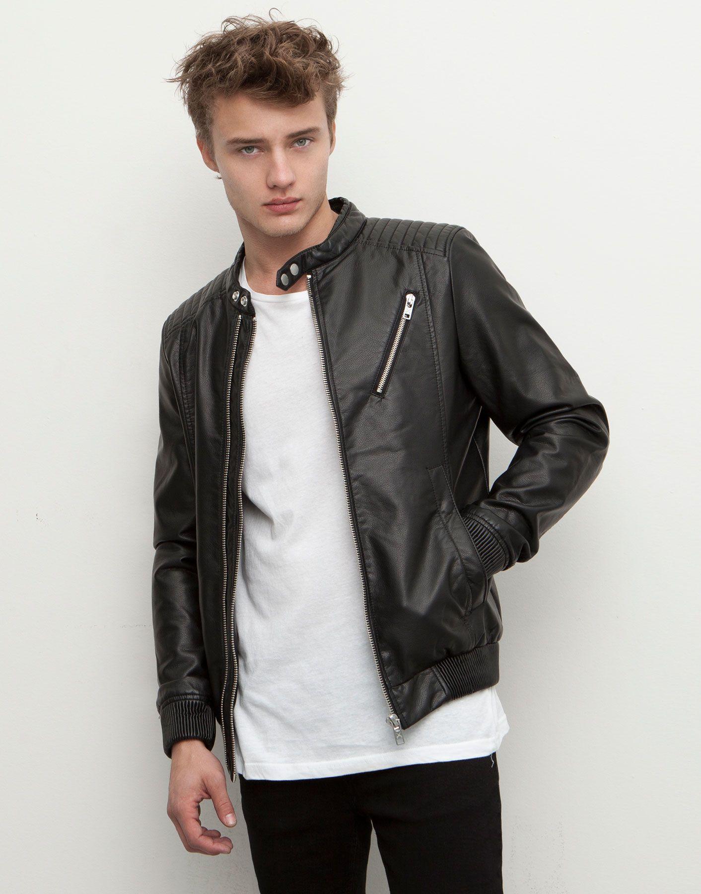 fake leather jacket jackets man pull bear egypt. Black Bedroom Furniture Sets. Home Design Ideas