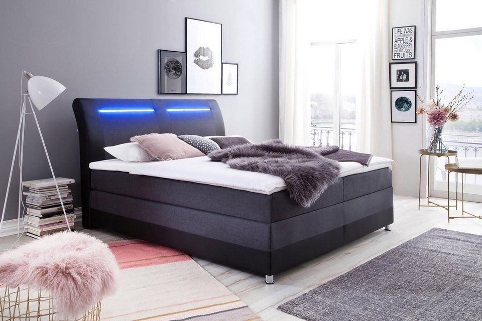 Meise Mobel Boxspringbett Mit Led Beleuchtung Und Topper Online