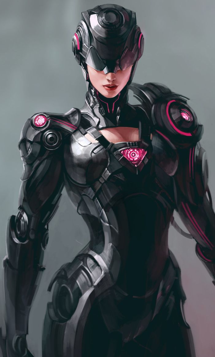 Game Concept Art Cyberpunk Android Robotic Cyborg Woman -5558