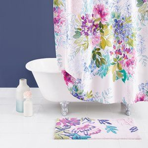 Ines Cotton Shower Curtain Floral Shower Curtains Bluebellgray