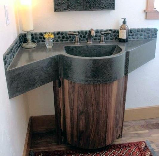 Vanity that uses the corner space in a unique way - great shape for