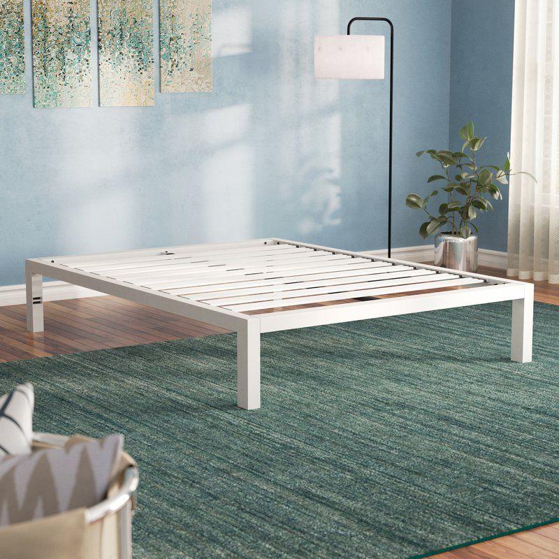 Hulme White Metal Platform Bed Frame Metal Platform Bed White