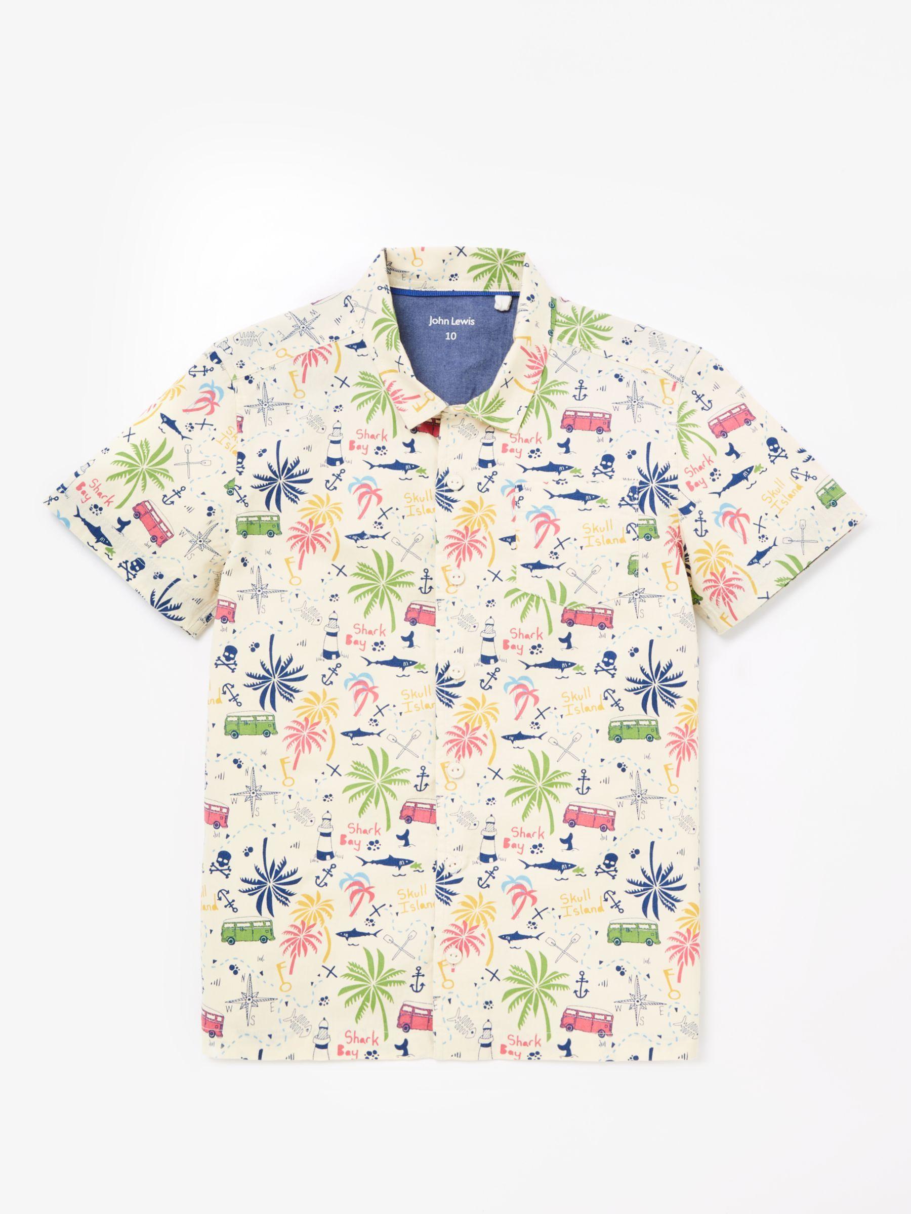 John Lewis & Partners Boys' Camper Van Print Shirt, Neutral