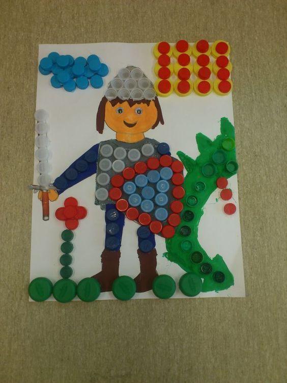 Dibujo con material reciclado la leyenda de sant jordi - Como decorar un dibujo de una castana ...