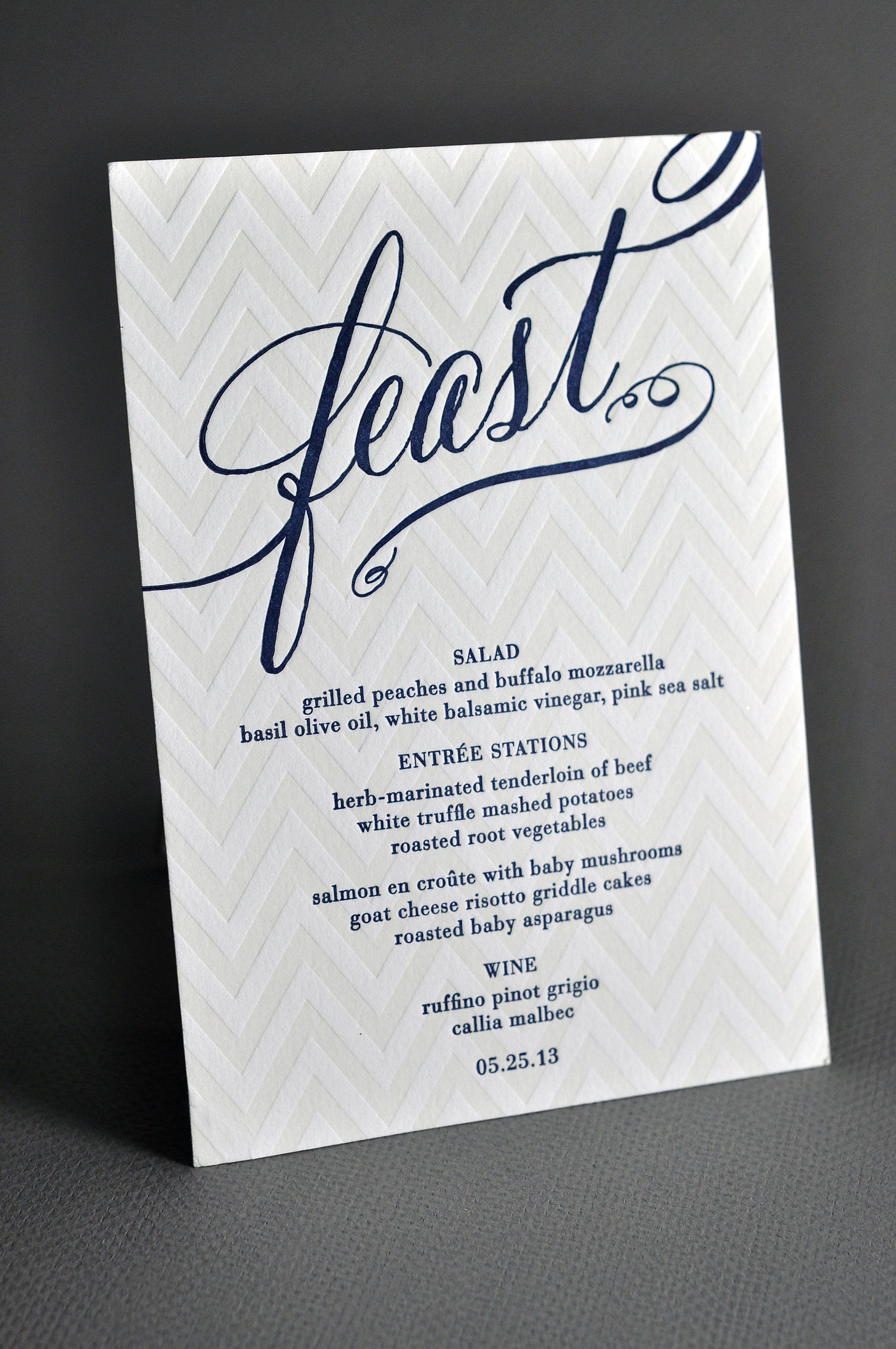 """Feast"" menus. Haute Papier. Photography: Shane Carpenter, Readyluck - readyluck.com Read More: http://www.stylemepretty.com/little-black-book-blog/2013/12/27/greenville-country-club-wedding/"