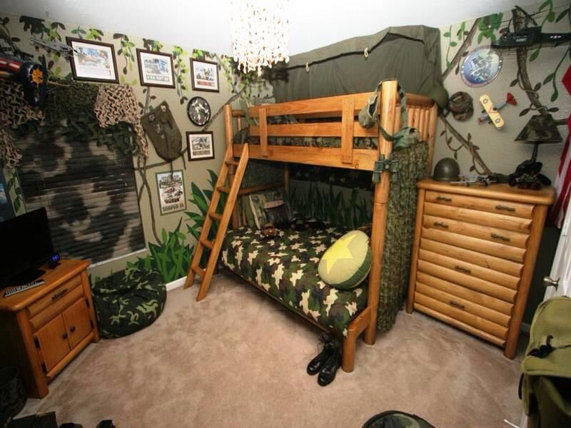 Funky Army Themed Kid Room Ideas For Boys Bedroom Design With Rustic Wood  Bunk Bed Idea And Inspiring Jungle Wall Decors Also Natural Wooden Cupboard Kids Rooms Inspiration Bedrooms and ideas
