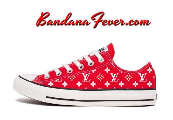 ffafc8512a Custom Supreme LV Converse Shoes Low Red, #fashion, #style, #supremelv,  #Design, by Bandana Fever #rich #shoeslover #luxuryshoes #shoesaddict  #shoestagram ...