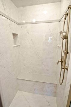 Neutral White Cultured Marble Shower Candlelight Home