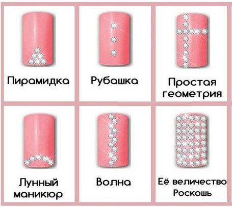 Схема страз на ногтях