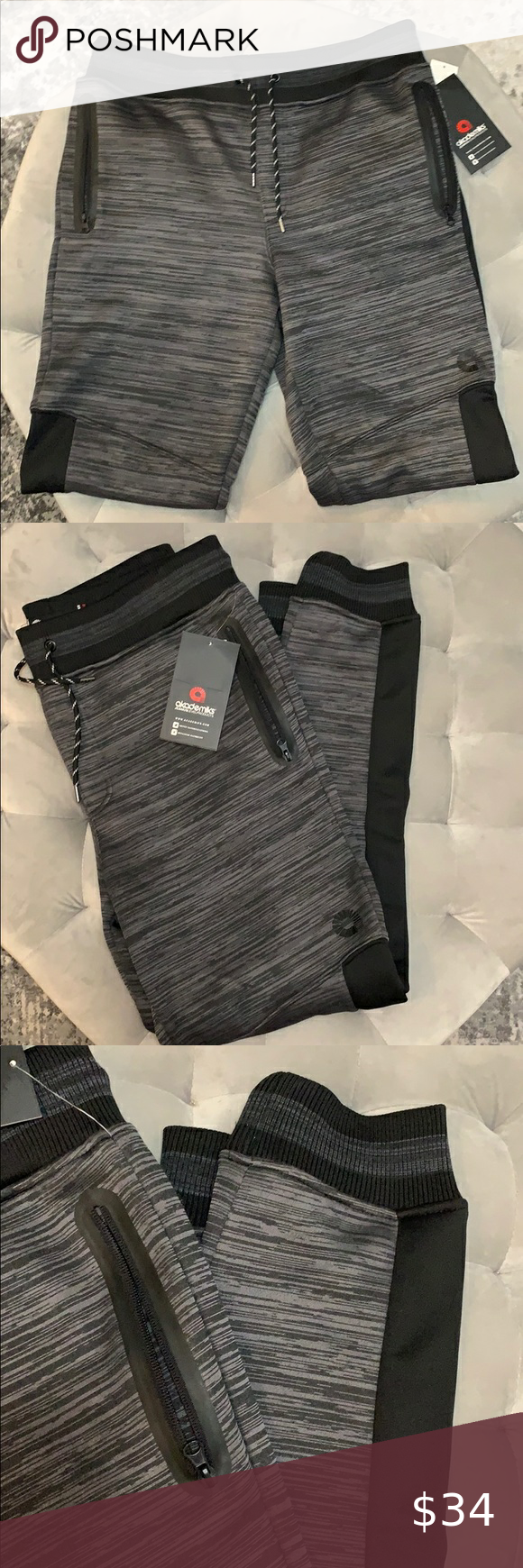 NEW Boutique! Men's Akademiks Slim Joggers XL NEW Boutique! Men's Akademiks Slim Joggers XL NWT, Charcoal And Black, Nice Silky Soft Material. academiks Pants Sweatpants & Joggers