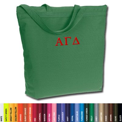 Alpha Gamma Delta Sorority Zippered Tote Bag #Greek #Sorority #Accessories #AmericanApparel #ToteBag #SchoolEssentials #CollegeEssentials #AlphaGammaDelta #AGD