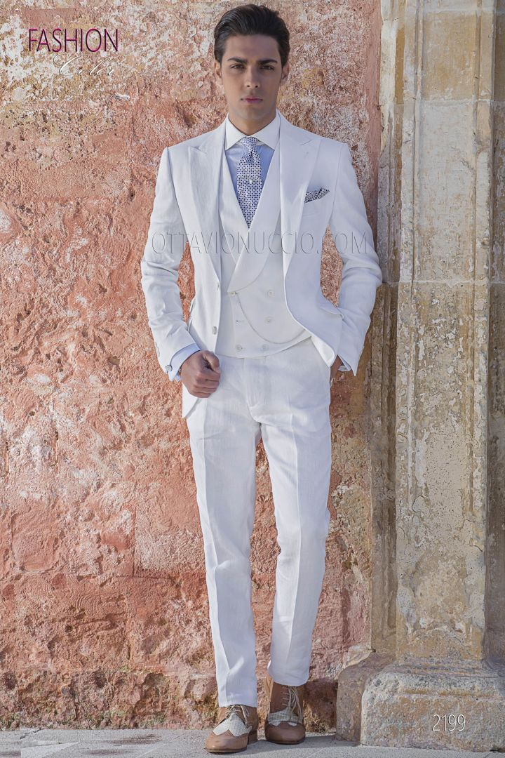 Vestiti Cerimonia Uomo Estivi.Abito Da Sposo Fashion Lino Bianco Per Cerimonie Estive Abiti Da