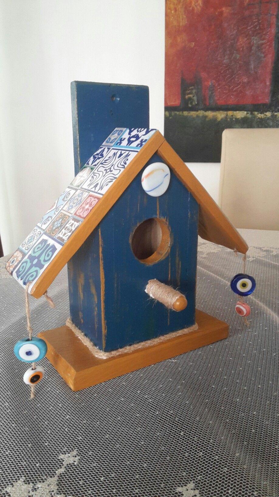 Kus Yuvasi Birdhouse El Boyamasi Seramik Desen Boncuk Kus