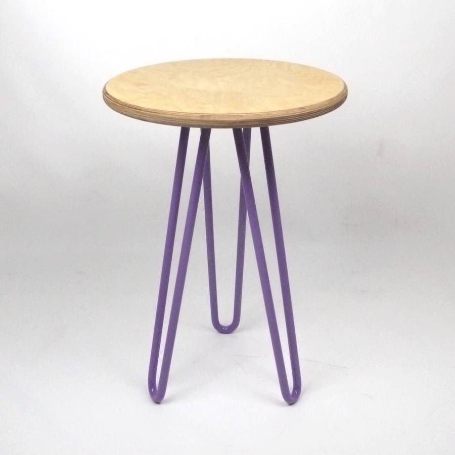 Birch Ply Side Table With Hairpin Legs