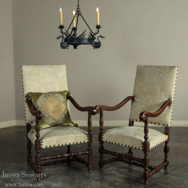 antique armchairs french antiques pair antique french louis xiii