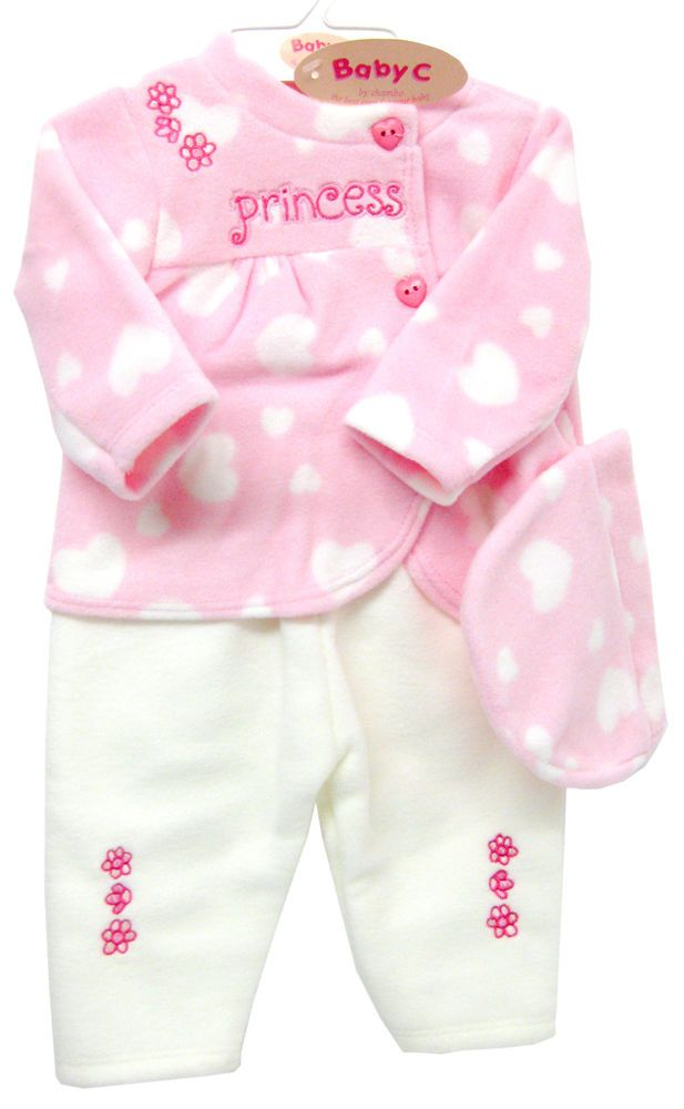 Details About Baby C Pink Princess Heart Fleece Top Trousers Hat 3pc Set Various Sizes 3812 Baby Fashion Kids Outfits Baby Kids Clothes