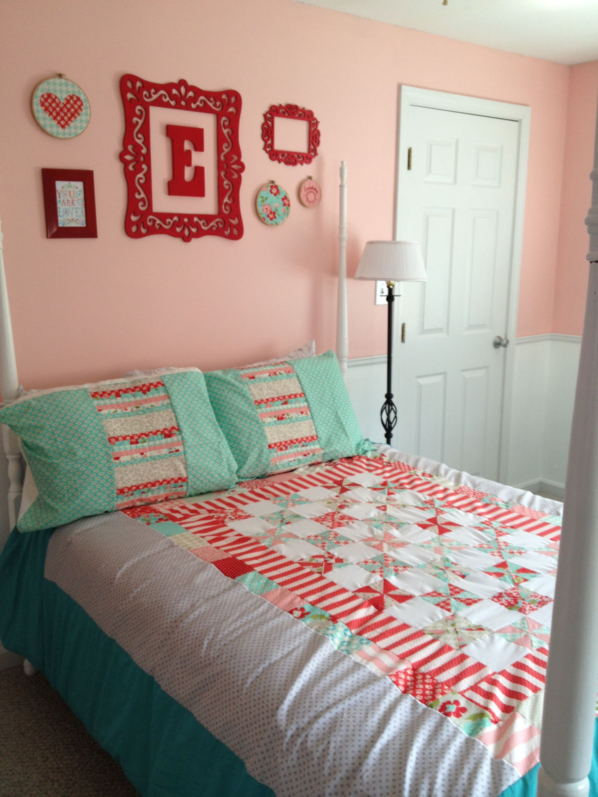 Evelyn's big girl room! Red, teal and pink. | Girls ...