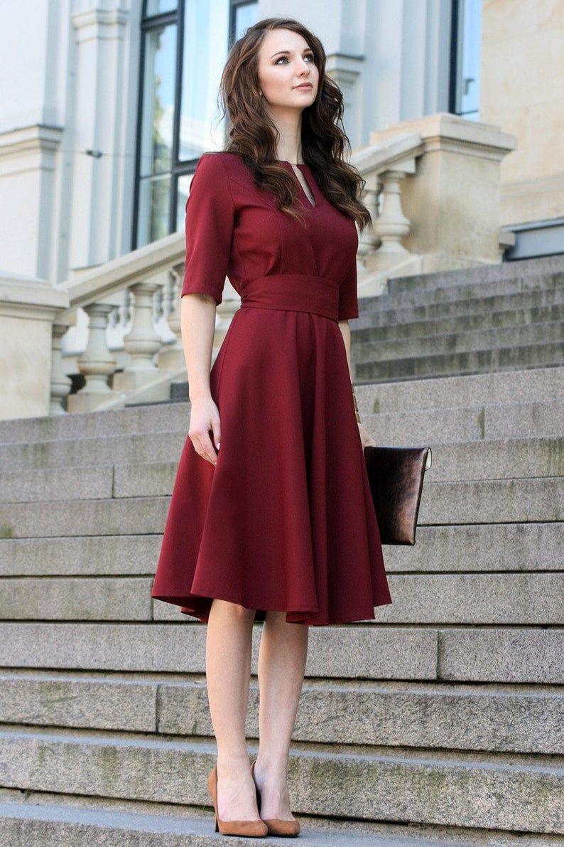 Plus Size Dress Cocktail Dress Womens Dress Red Dress Etsy Dark Red Dresses Burgundy Dress Red Cocktail Dress [ 1191 x 794 Pixel ]