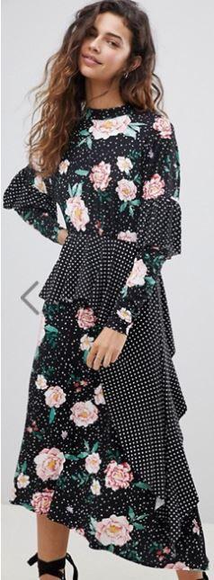 e1b3bee859ed ASOS Mixed Print Deconstructed Midi Tea Dress with Open Back at asos.com