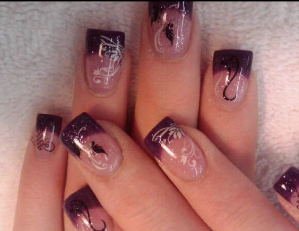 Purple gel nails with stamped design   My Gel nails 6 ...