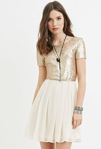 Sequin-Paneled Fit & Flare Dress | Forever 21 - 2000182318 ...