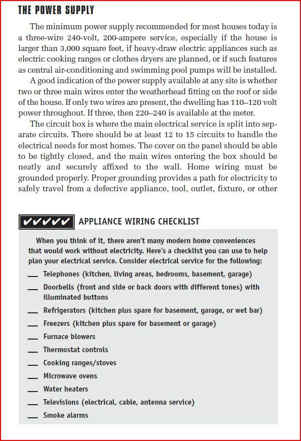 appliance wiring checklist 1 of 2 home electrical wiring power, electrical wiring, electrical wiring appliances
