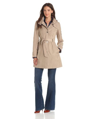 62eb30e4 Tommy Hilfiger Women's Water Resistant Snap Front Hooded Anorak Rain Trench  Coat $157.50