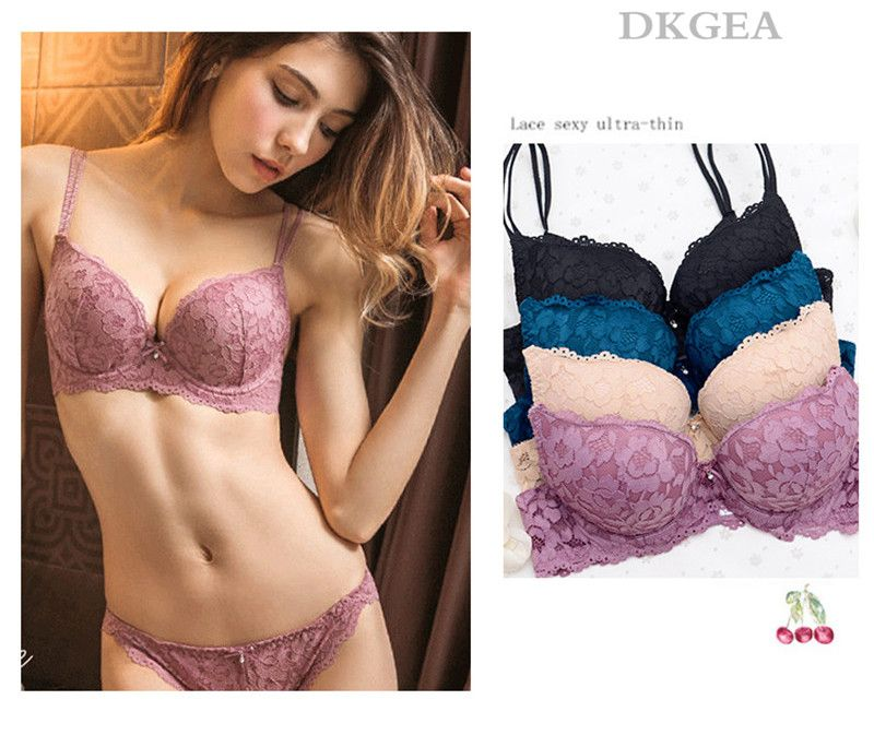 33539e7db595 Hot Sexy Push Up Bra Set Brand Deep V Brassiere Thick Cotton Women  Underwear Set Lace Blue Embroidery Flowers Lingerie B C Cup