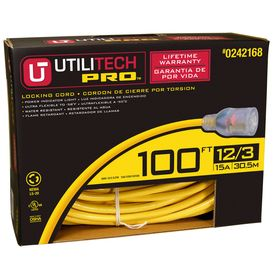 Utilitech Utilitech Pro 100 Ft 12 3 3 Prong Outdoor Sjtw Super Heavy Duty Lighted And Locking Extension Cord Ut700835 In 2020 Extension Cord Outdoor Extension Cord Cord Light