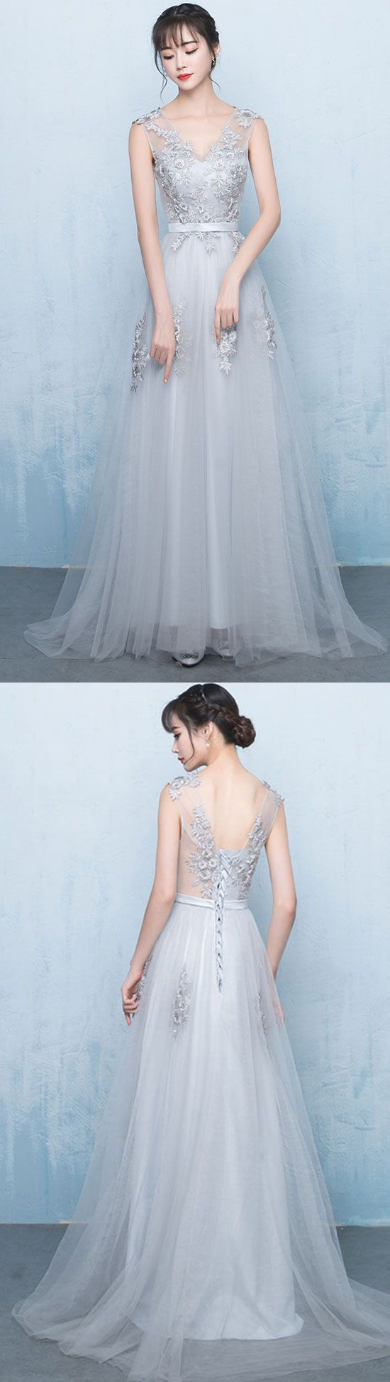 Gray v neck tulle lace applique long prom dress, gray bridesmaid ...