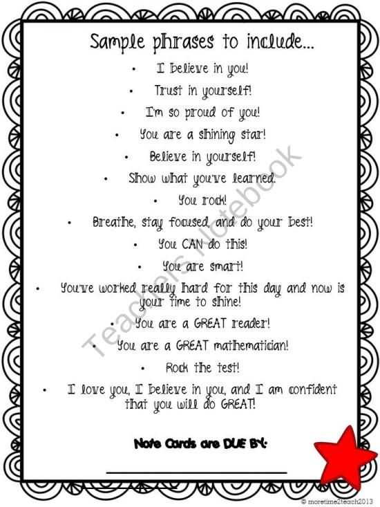 Testing Motivation for Students - Teachers Notebook (FREE - encouragement letter template