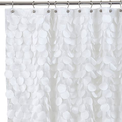 Gigi Fabric Shower Curtain Features Layers Of Silky Fluttery