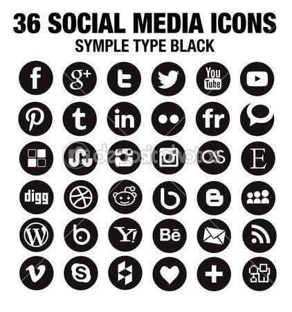 36 New Social Media Icons Round Black Stock Vector Social Media Icons Black Social Media Icons Icon Set Vector