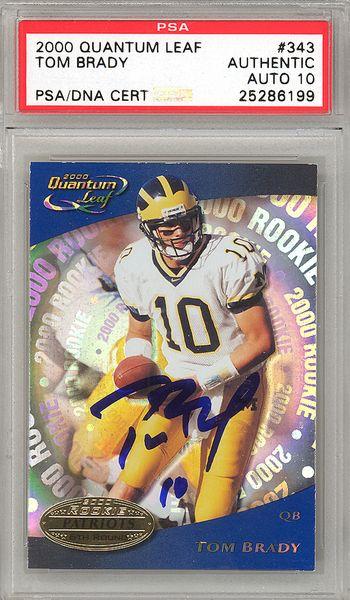 Tom Brady Autographed 2000 Quantum Leaf Rookie Card 343 New