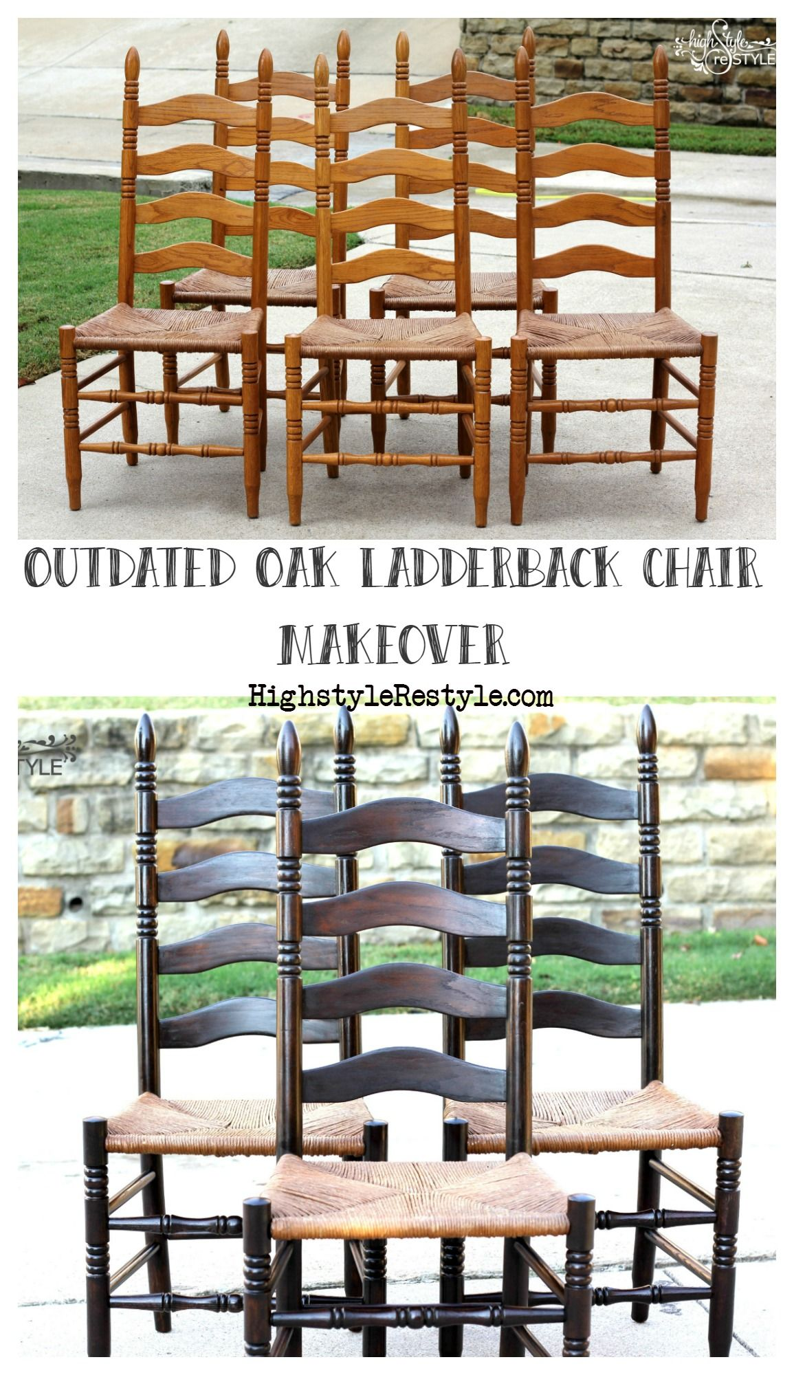 Outdated Oak Ladderback Chair Makeover Highstyle Restyle Ladder Back Chairs Chair Makeover World Market Dining Chairs Oak ladder back chairs