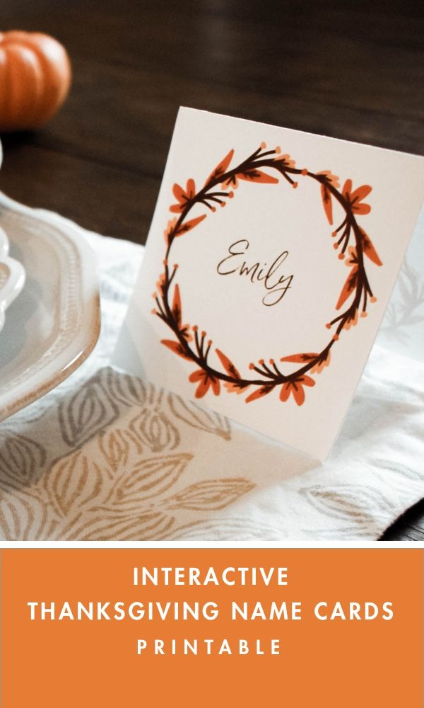 Interactive Thanksgiving Name Cards Printable Instant Download   Etsy