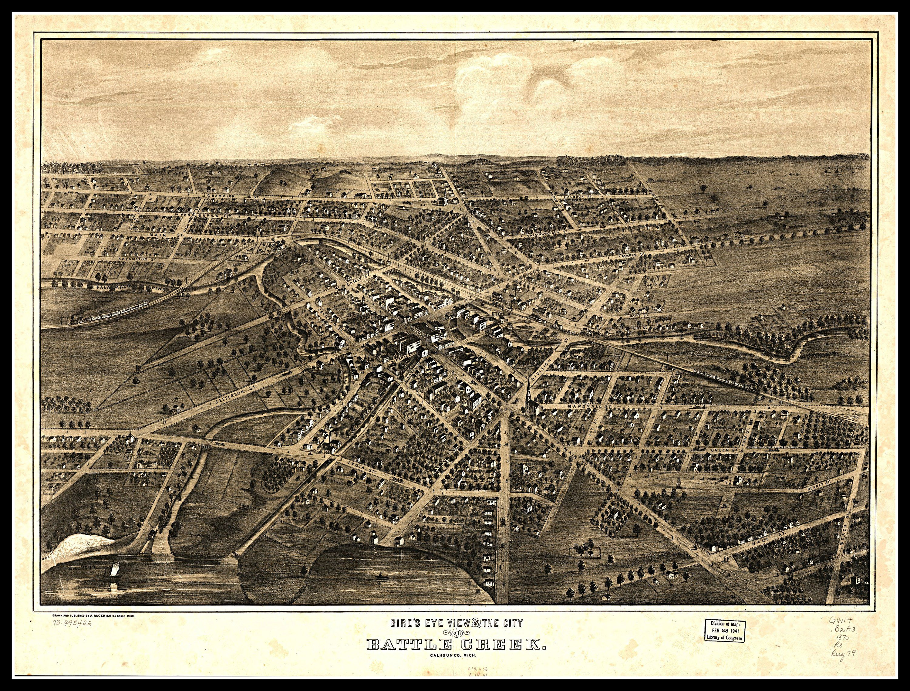 LARGE Bird/'s Eye View City Map KNOXVILLE Tennessee Old USA circa 1886 24x36