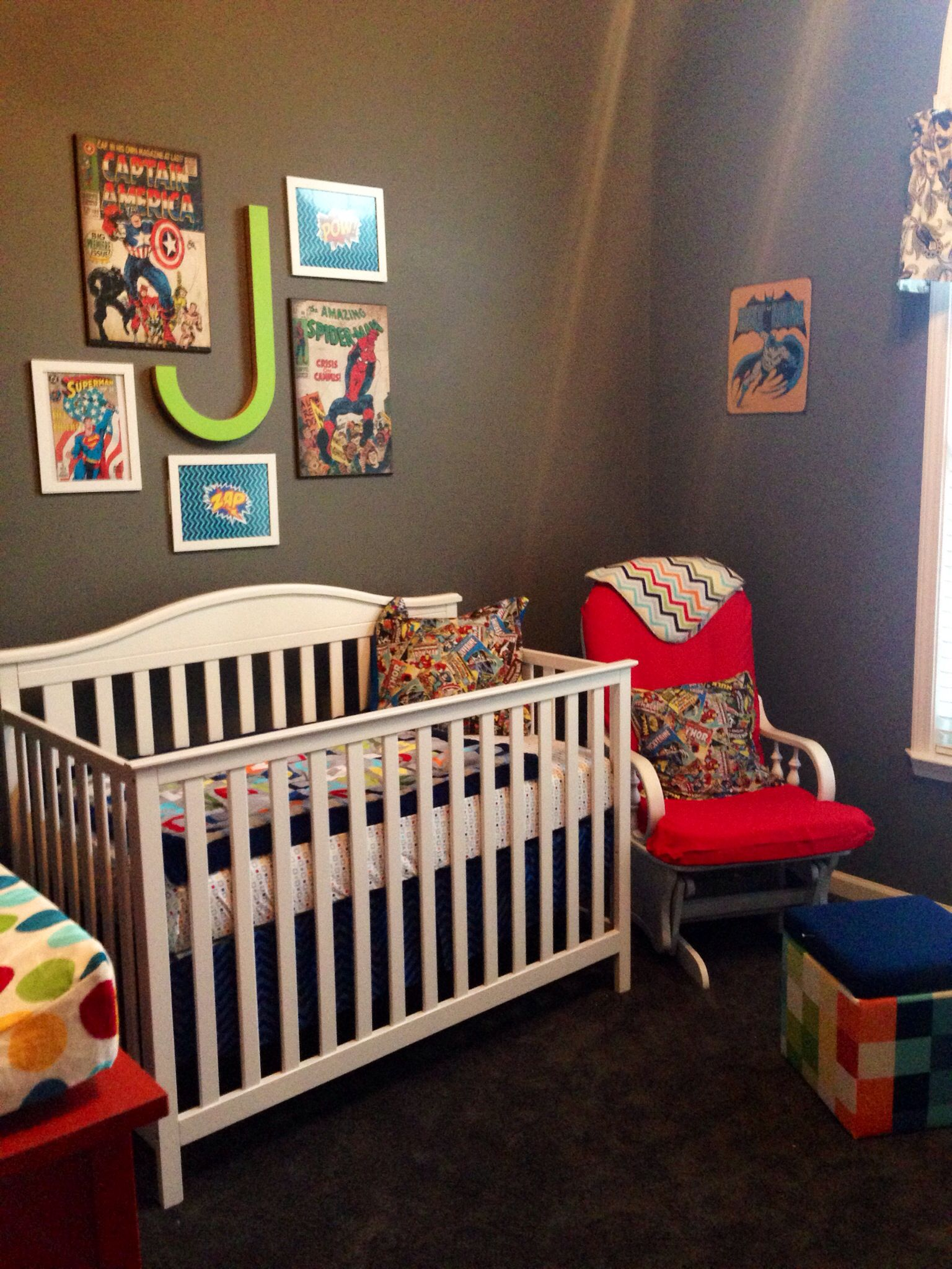 Superhero Nursery- repainted and recovered glider; ottoman, bedding, and  crib from Target