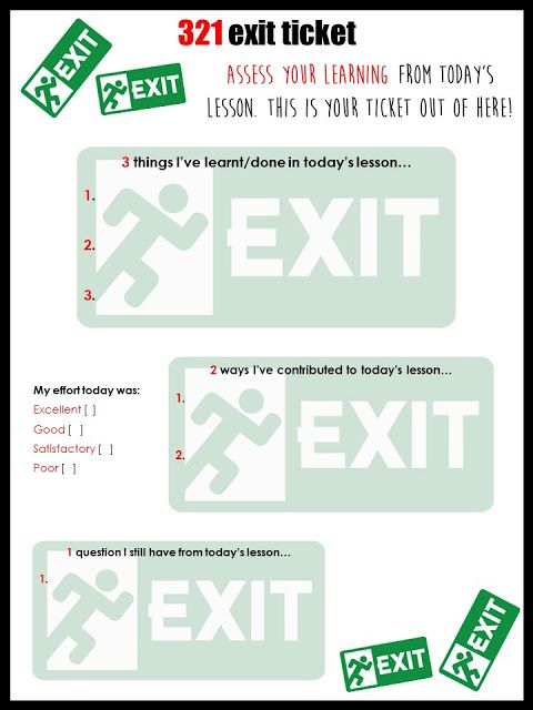 321 exit tickets STARTERS \ PLENARIES Pinterest Teaching ideas - exit ticket template