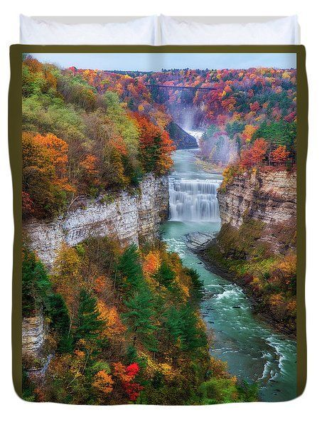 Middle Falls Of Letchworth State Park by Mark Papke #thegreatoutdoors Middle Falls Of Letchworth State Park Duvet Cover by Mark Papke #letchworthstatepark