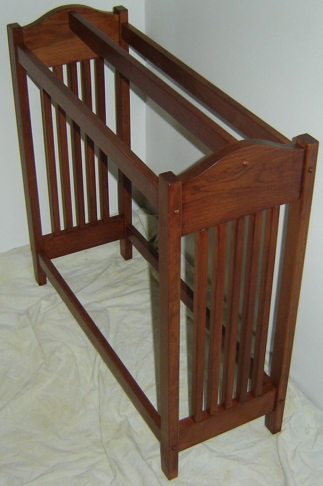 New Solid Cherry Wood Mission Style Quilt Rack Stand Blanket
