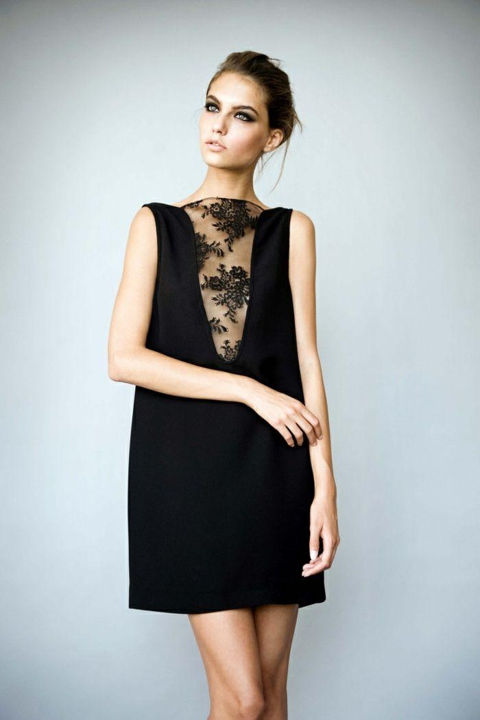 8e2034b785e robe longue soiree de couleur noir et décolleté en dentelle noire ...