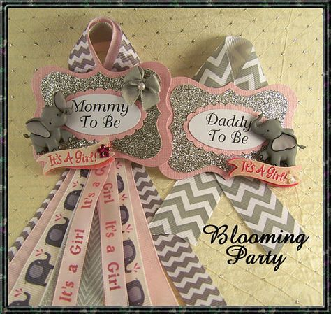 Pink Elephant Mommy To Be Corsage and Daddy To Be Corsage Elephant Baby Shower Corsage Pink and Gray Elephant Mommy To Be Corsage