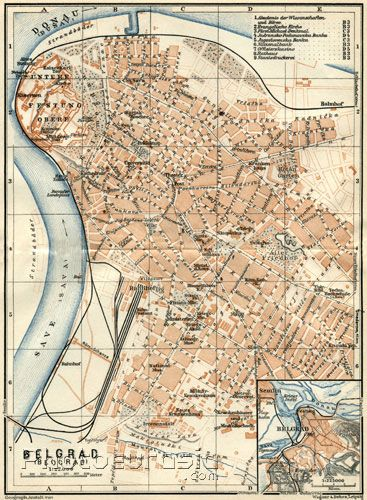 Belgrade Beograd Beograd City Map Environs Of Belgrade 1929